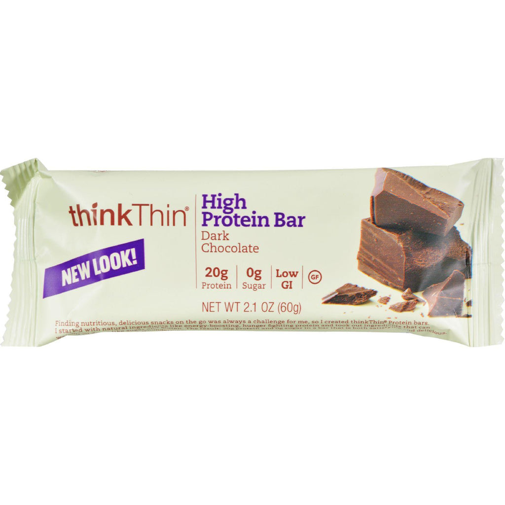 Think Products Thin Bar - Dark Chocolate - Case Of 10 - 2.1 Oz-Think Products-pantryperks