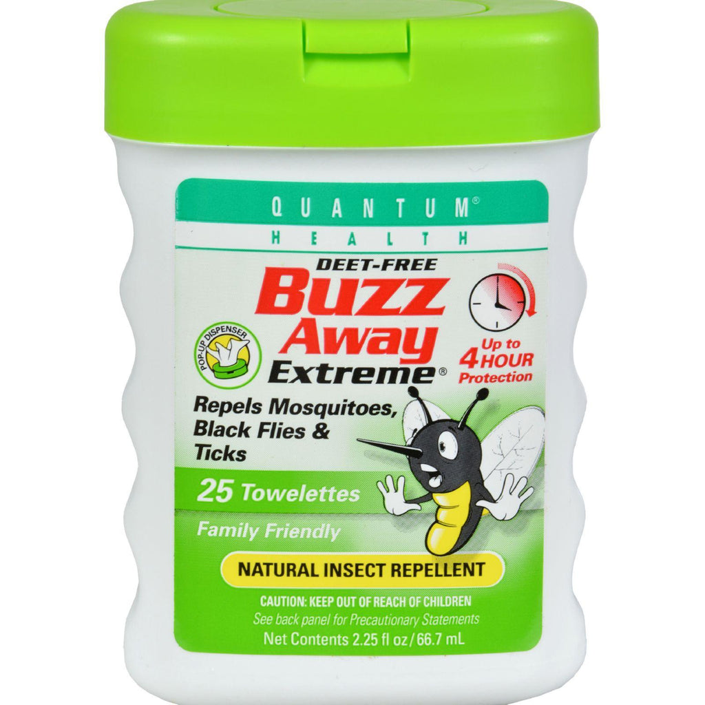 Quantum Buzz Away Extreme Repellent Pop-Up Towelette Dispenser - 25 Towelettes-Quantum Research-pantryperks