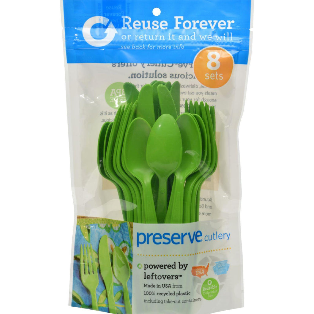 Preserve Reusable Utensil 8 Sets Apple Green - 24 Utensils-Preserve-pantryperks