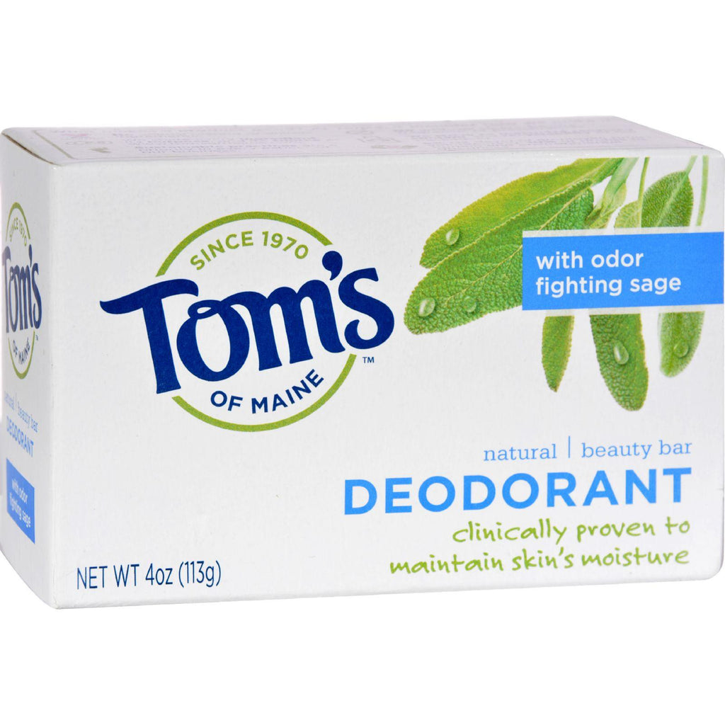Tom's Of Maine Natural Beauty Bar Deodorant With Odor Fighting Sage - 4 Oz - Case Of 6-Tom's Of Maine-pantryperks
