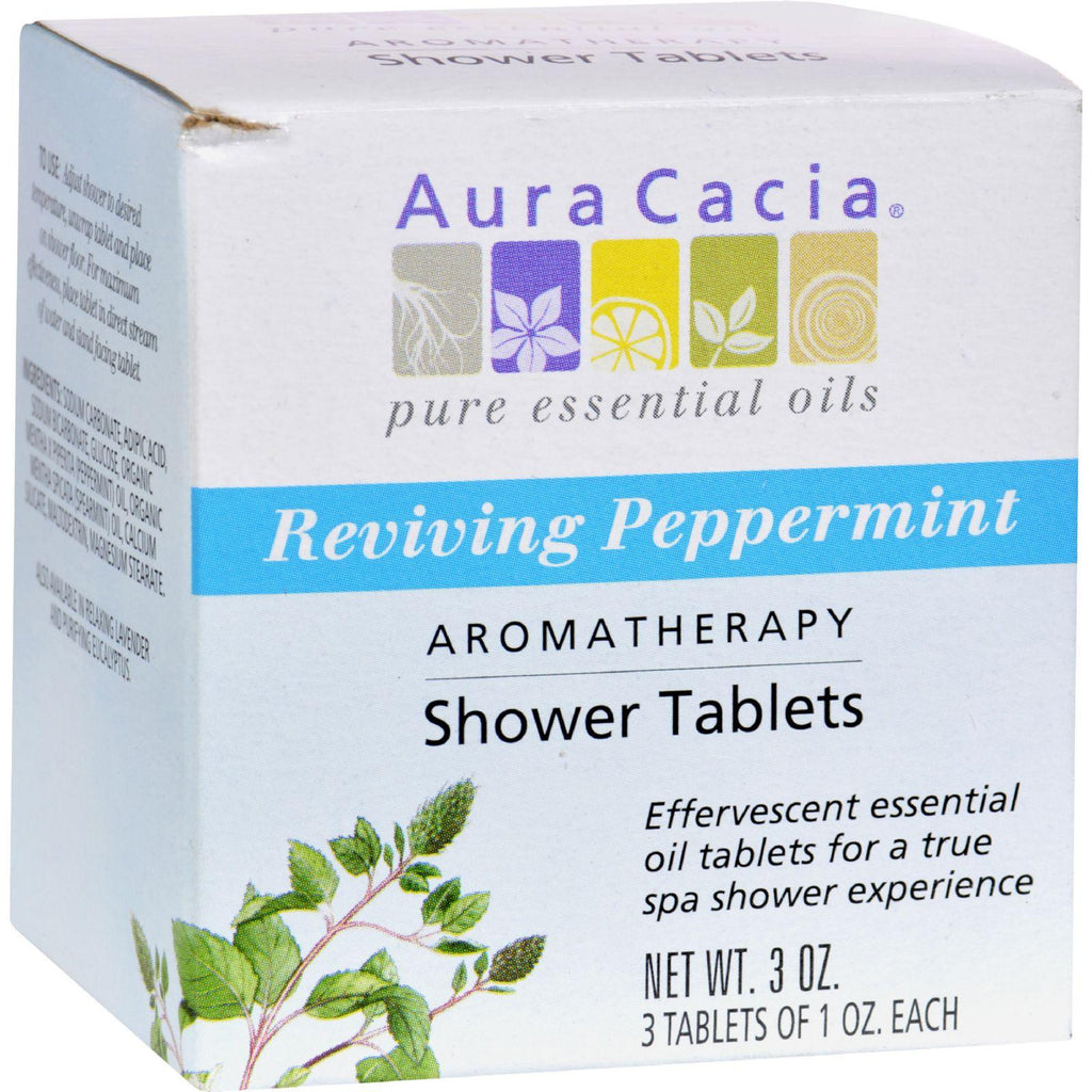Aura Cacia Aromatherapy Shower Tablets Reviving Peppermint - 3 Tablets-Aura Cacia-pantryperks