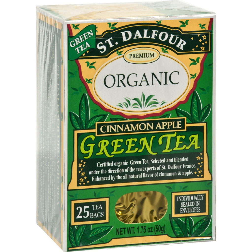 St Dalfour Organic Green Tea Cinnamon Apple - 25 Tea Bags - Case Of 6-St Dalfour-pantryperks