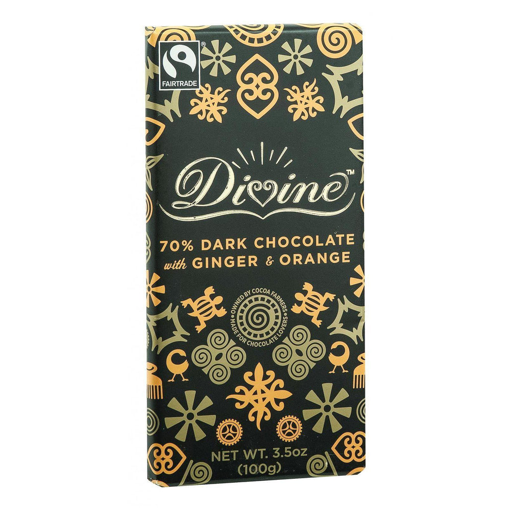 Divine Chocolate Bar - Dark Chocolate - 70 Percent Cocoa - Ginger And Orange - 3.5 Oz Bars - Case Of 10-Divine-pantryperks