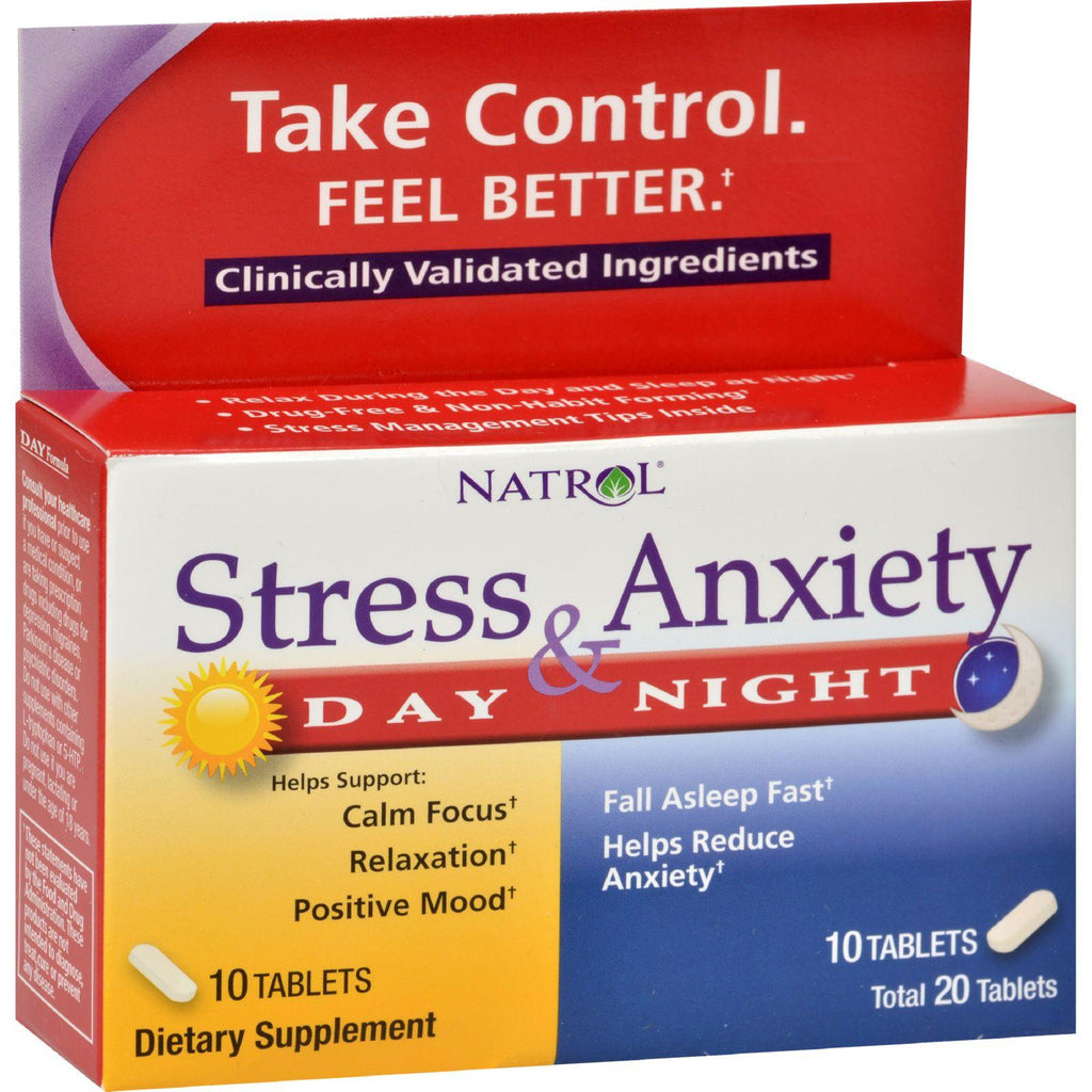 Natrol Stress Anxiety Day And Nite Formula - 20 Tablets-Natrol-pantryperks