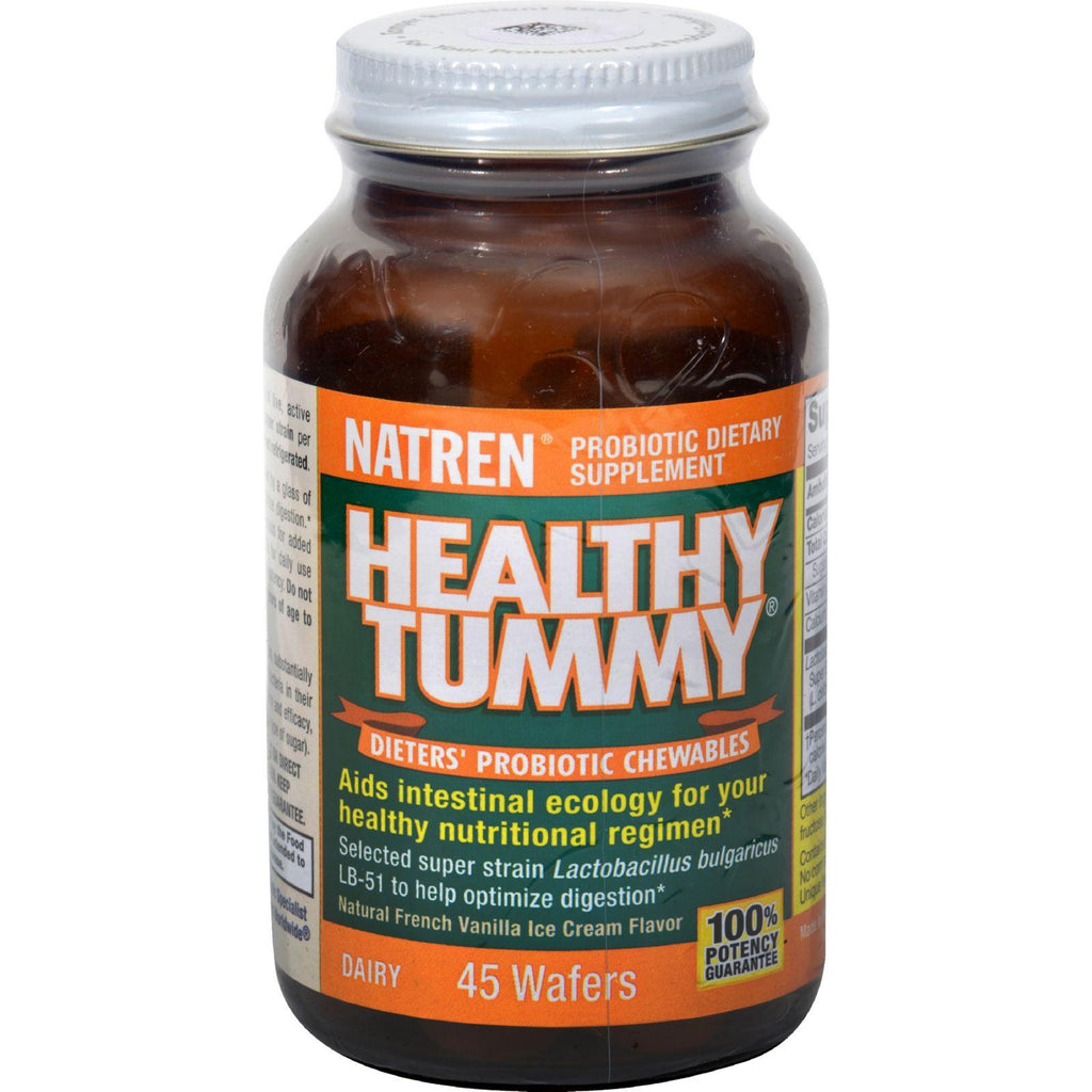 Natren Healthy Tummy Probiotic Chewables - Natural French Vanilla Ice Cream Flavor - 45 Wafers-Natren-pantryperks