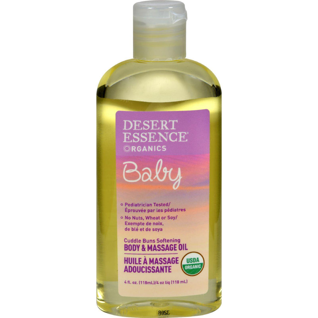 Desert Essence Baby Body And Massage Oil Cuddle Buns Softening Fragrance Free - 4 Fl Oz-Desert Essence-pantryperks