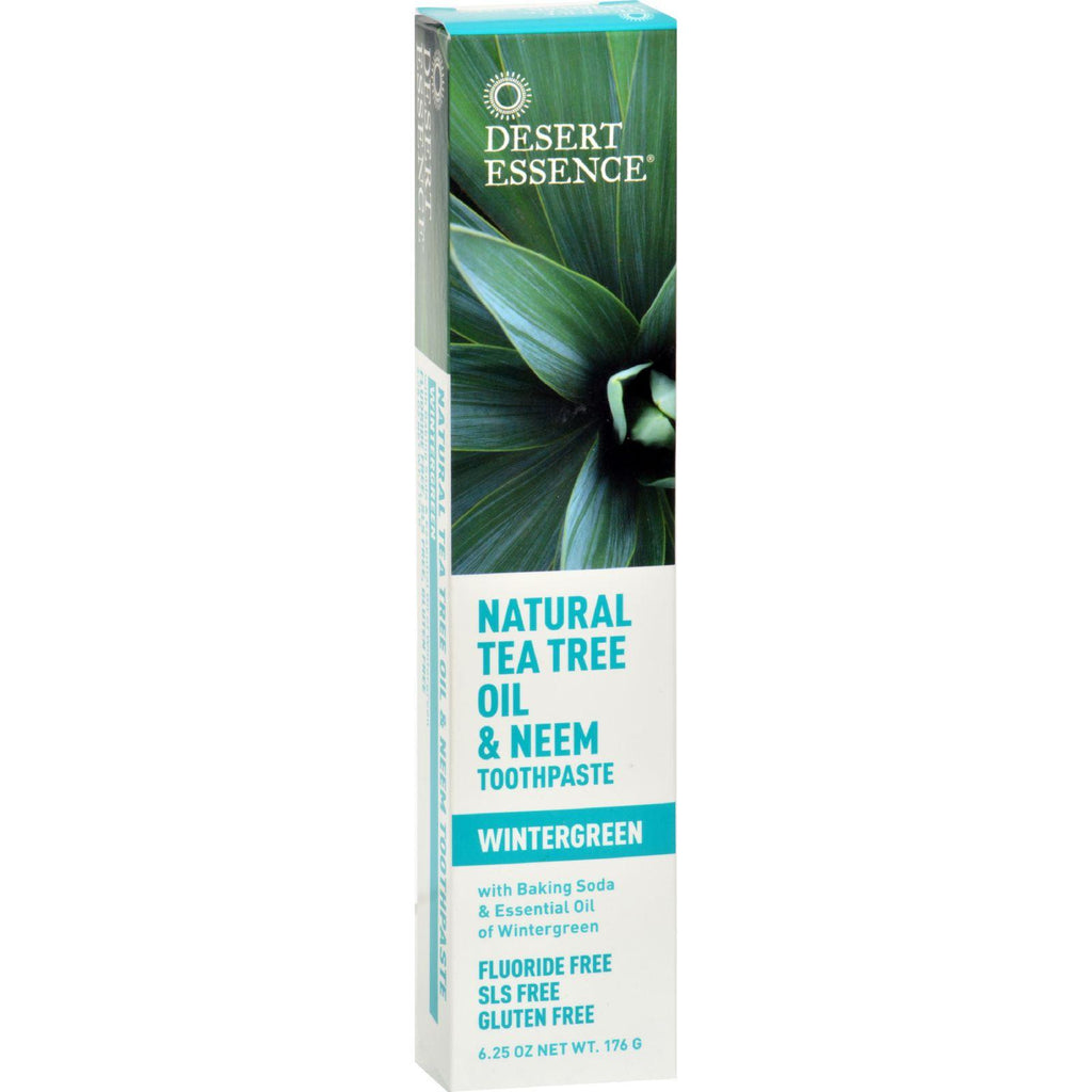 Desert Essence Natural Tea Tree Oil and Neem Toothpaste Wintergreen - 6.25 oz-Desert Essence-pantryperks