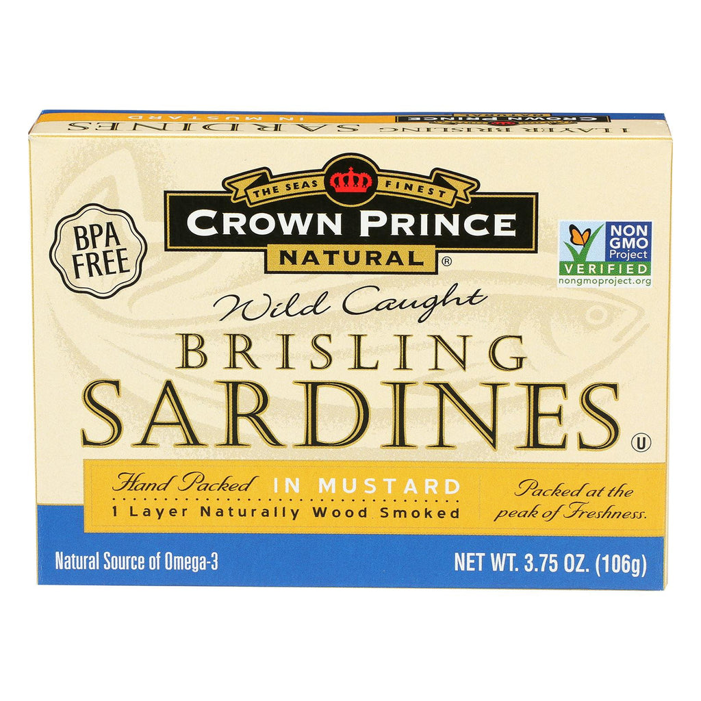 Crown Prince Brisling Sardines In Mustard - Case Of 12 - 3.75 Oz.-Crown Prince-pantryperks