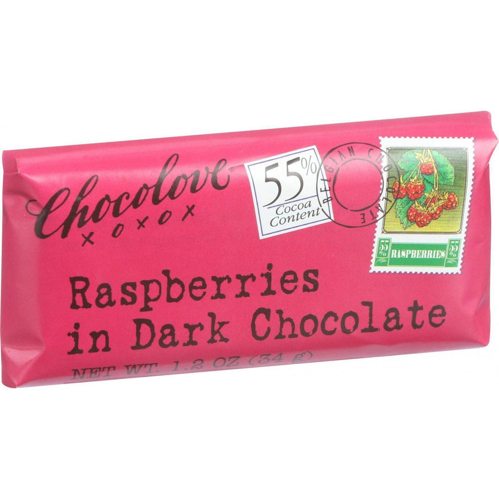 Chocolove Mini Dark Chocolate Bar Raspberries - 1.2 oz-Chocolove Xoxox-pantryperks
