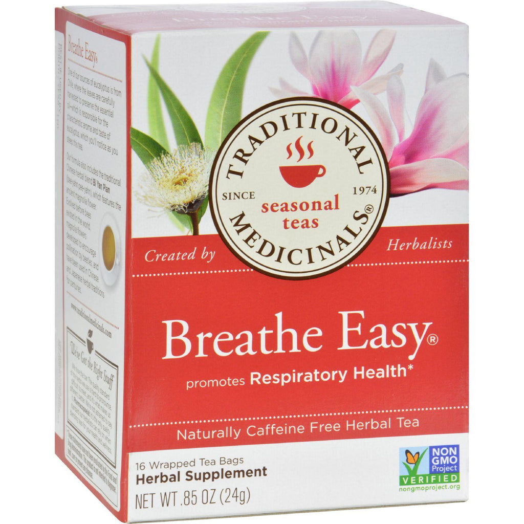 Traditional Medicinals Breathe Easy Herbal Tea - Caffeine Free - 16 Bags-Traditional Medicinals-pantryperks