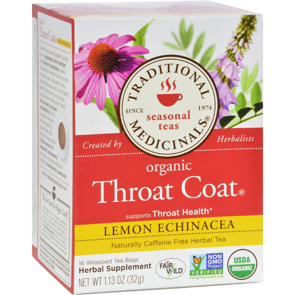 Traditional Medicinals Organic Throat Coat Lemon Echinacea Herbal Tea - Caffeine Free - 16 Bags-Traditional Medicinals-pantryperks