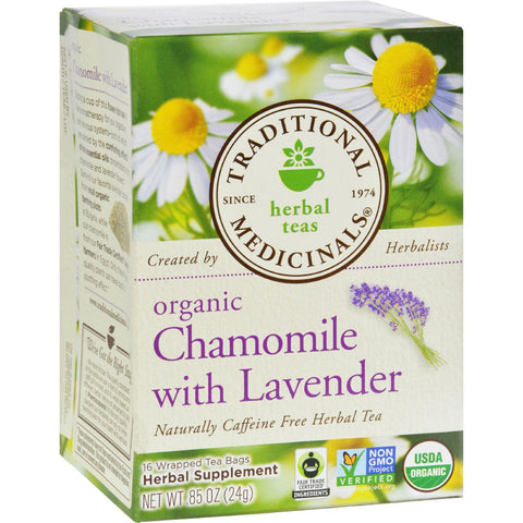 Traditional Medicinals Herbal Tea Organic Chamomile with Lavender - 16 Tea Bags-Traditional Medicinals-pantryperks