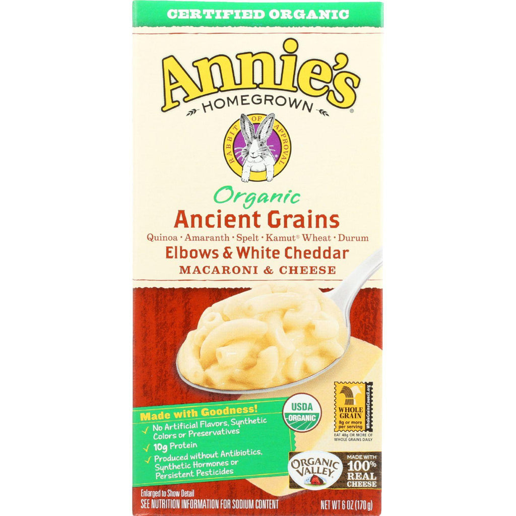 Annies Homegrown Macaroni And Cheese - Organic - 5-grain Elbows And White Cheddar - 6 Oz - Case Of 12-Annie's Homegrown-pantryperks
