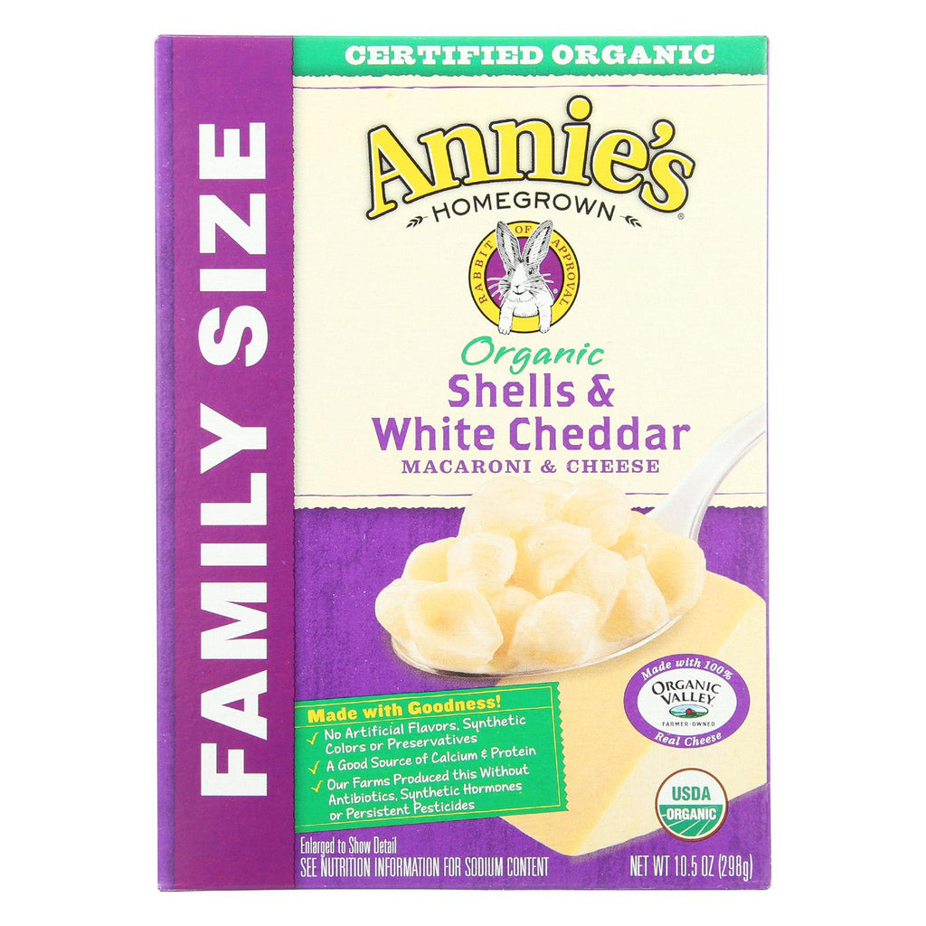 Annie's Organic Family Size Macaroni and Cheese - Shells & White Cheddar Mac and Cheese - 10.5 oz Box - Pack of 6-Annie's Homegrown-pantryperks
