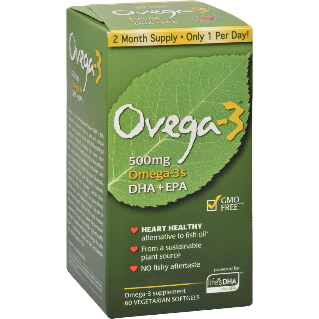 Ovega-3 Vegetarian/Vegan Omega-3 - One Per Day - Dietary Supplement - Algal Oil - 500 mg Omegas - 135 mg EPA - 270 mg DHA - 60 Count-Amerifit-pantryperks