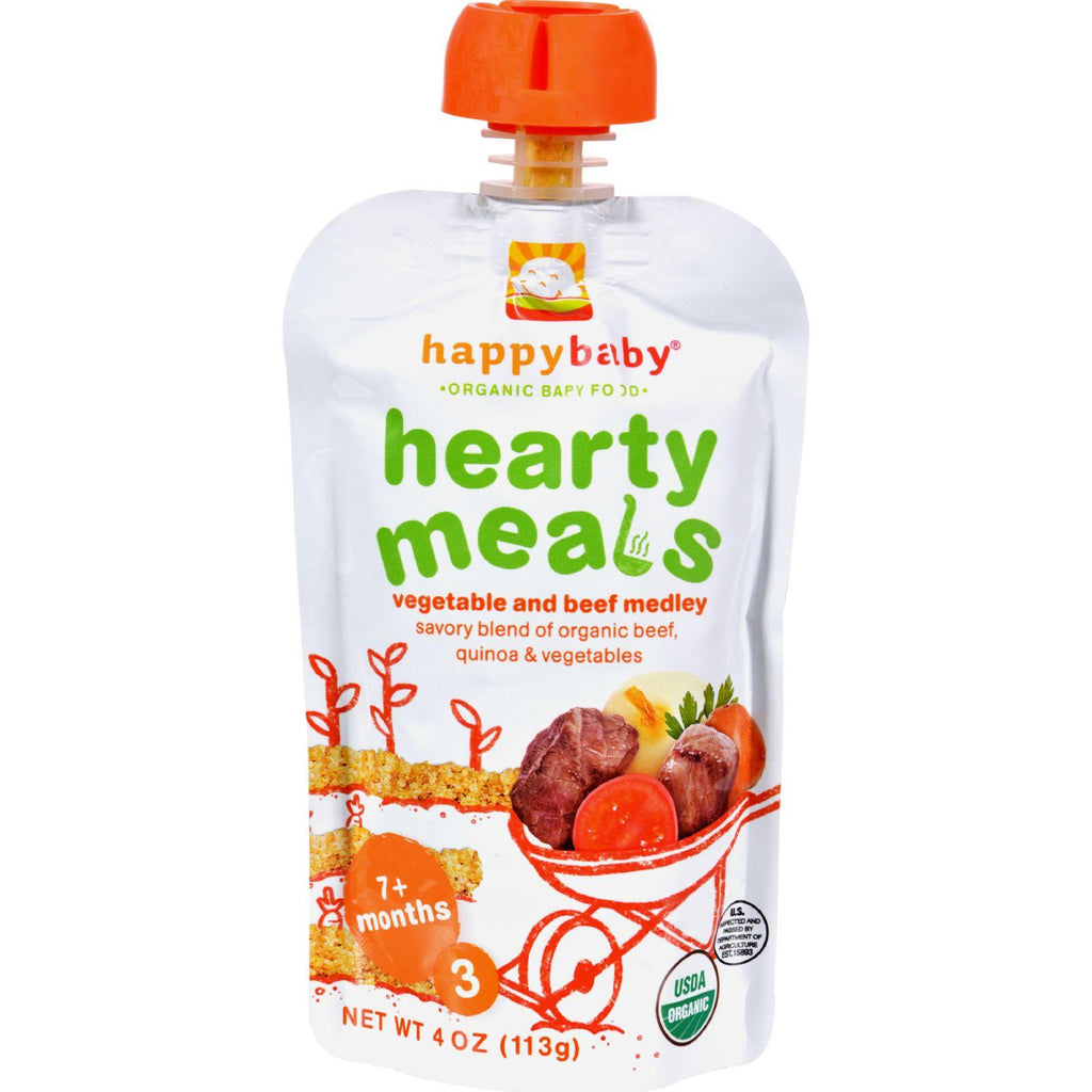 Happy Baby Organic Baby Food Stage 3 Vegetable & Beef Medley with Quinoa - 4 oz-Happy Baby-pantryperks