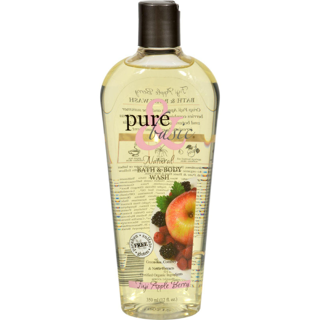 Pure And Basic Natural Bath And Body Wash Fuji Apple Berry - 12 Fl Oz-Pure And Basic-pantryperks