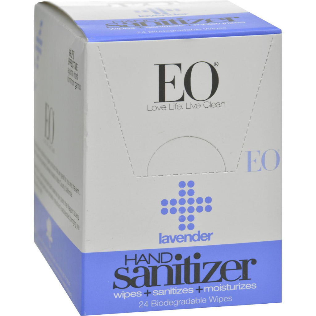 Eo Products Hand Sanitizer Wipes - Lavender - Case Of 24-Eo Products-pantryperks