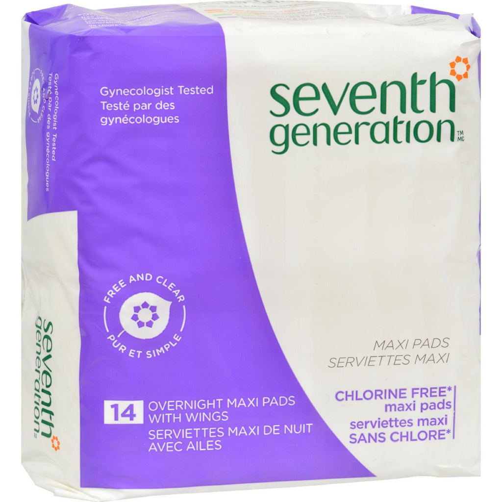 Seventh Generation Chorine Free Maxi Pads - Overnight With Wings - 14 Pads-Seventh Generation-pantryperks