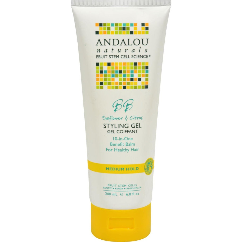 Andalou Naturals Medium Hold Styling Gel Sunflower And Citrus - 6.8 Fl Oz-Andalou Naturals-pantryperks