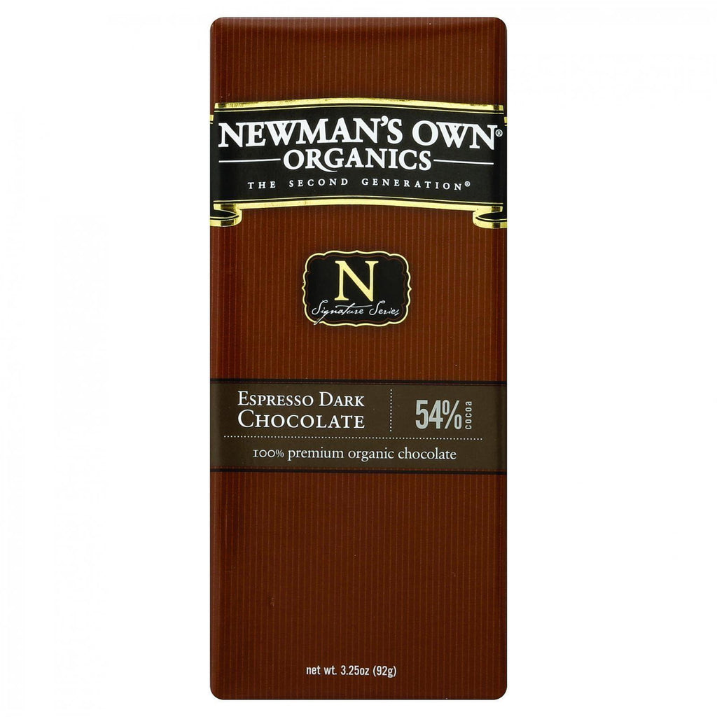 Newman's Own Organics Chocolate Bar - Organic - Dark Chocolate - Espresso - 3.25 Oz Bars - Case Of 12-Newman's Own Organics-pantryperks