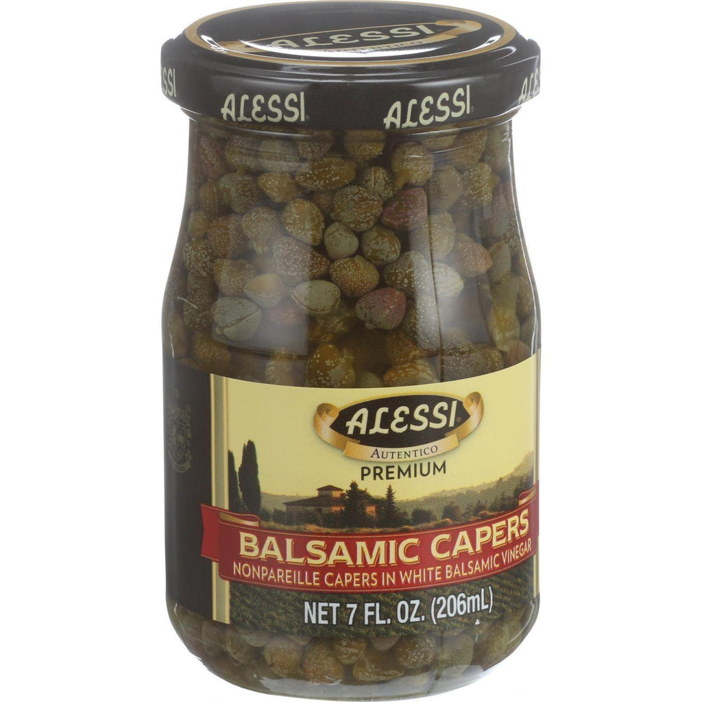 Alessi Capers In White Balsamic Vinegar - 7 Oz - Case Of 6-Alessi-pantryperks