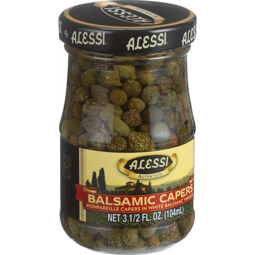 Alessi Capers In White Balsamic Vinegar - 3.5 Oz - Case Of 6-Alessi-pantryperks