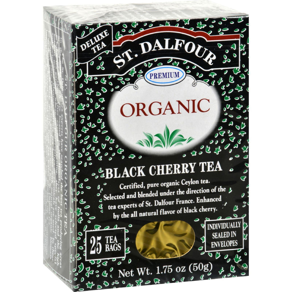 St Dalfour Organic Tea Black Cherry - 25 Tea Bags - Case Of 6-St Dalfour-pantryperks