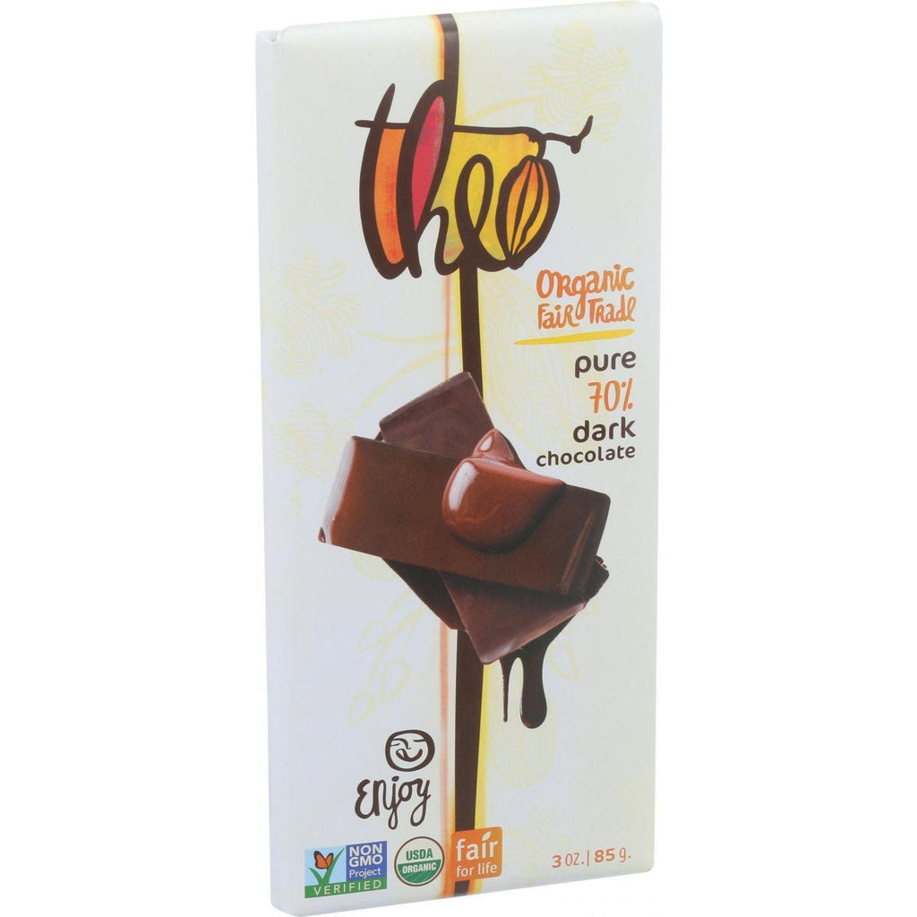 Theo Chocolate Organic 70% Dark Chocolate Bar Unflavored - 3 oz-Theo Chocolate-pantryperks