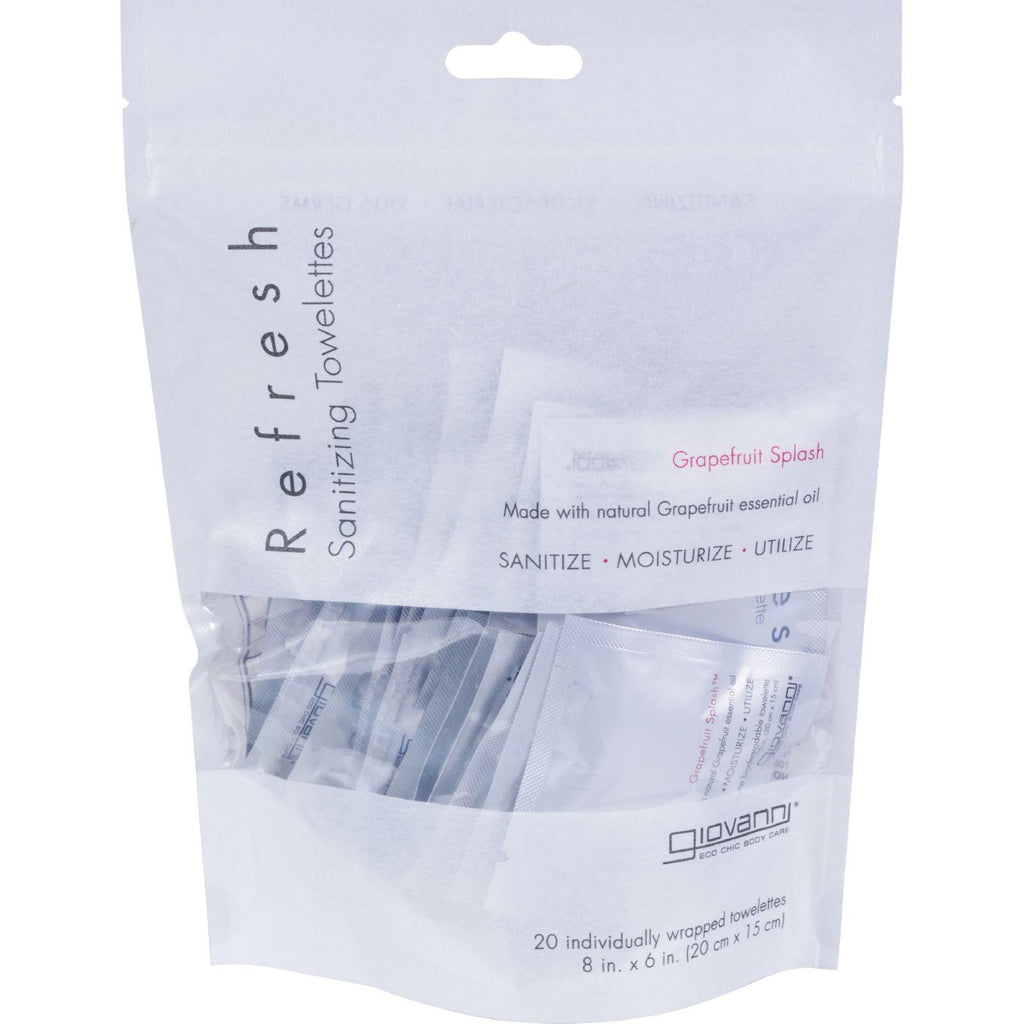 Giovanni Refresh Towelettes Grapefruit Splash - 20 Towelettes-Giovanni Hair Care Products-pantryperks