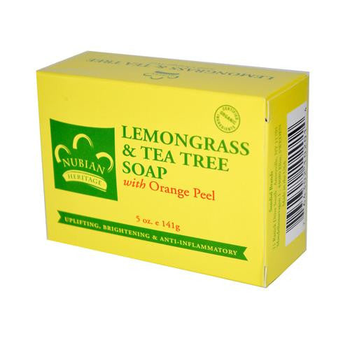 Nubian Heritage Bar Soap Lemongrass and Tea Tree with Orange Peel - 5 oz-Nubian Heritage-pantryperks