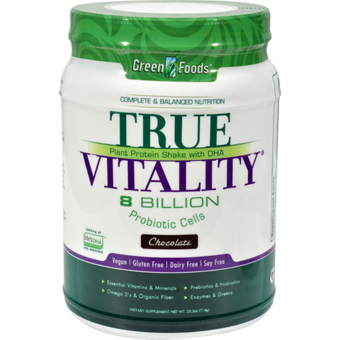 Green Foods True Vitality Plant Protein Shake With Dha Chocolate - 25.2 Oz-Green Foods-pantryperks