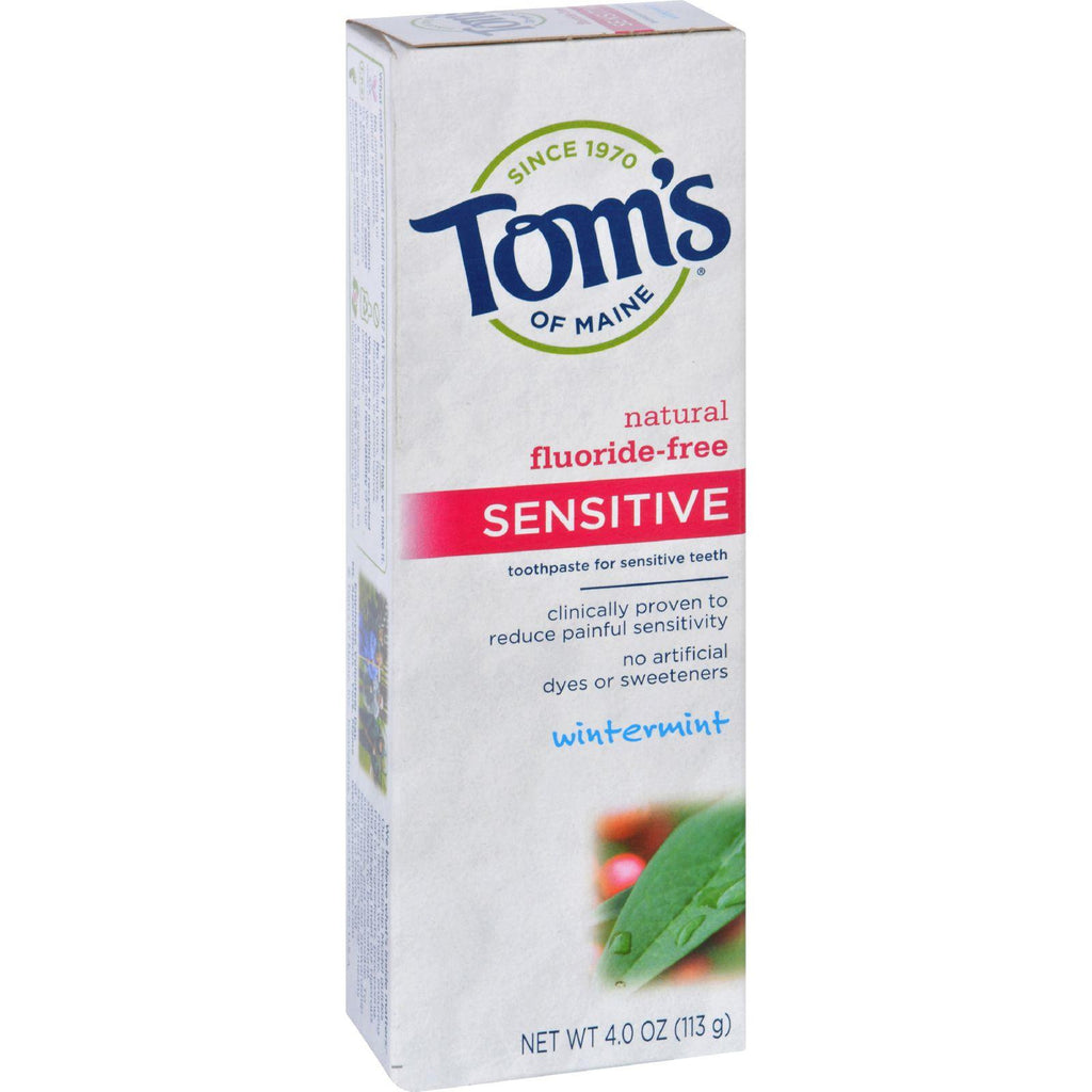 Tom's of Maine Sensitive Natural Toothpaste Fluoride-Free Wintermint - 4 oz-Tom's Of Maine-pantryperks