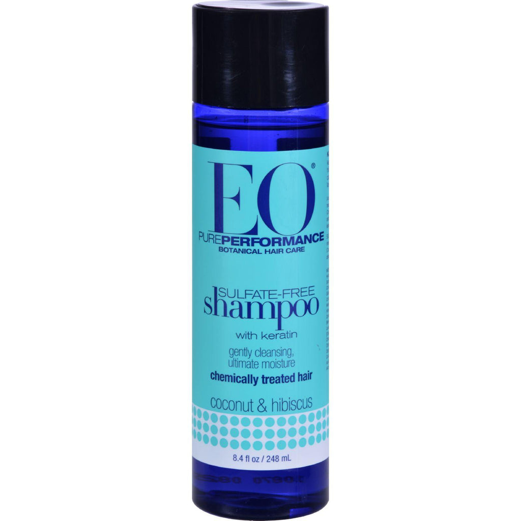 EO Pure Performance Botanical Shampoo - Sulfate Free with Keratin for Chemically Treated Hair - Coconut & Hibiscus - 8.4 Ounce-Eo Products-pantryperks