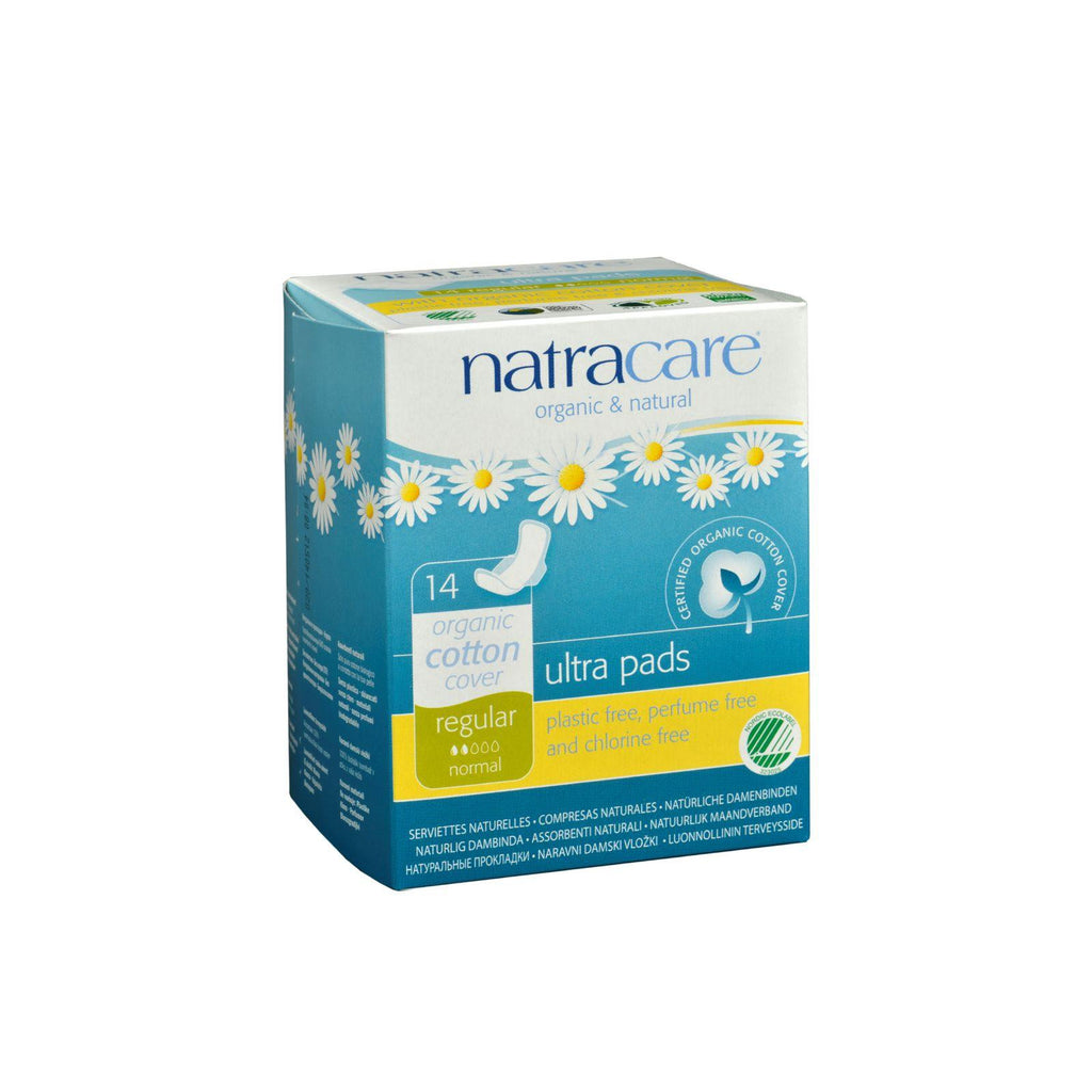 Natracare Natural Ultra Pads W-wings Regular W-organic Cotton Cover - 14 Pack-Natracare-pantryperks