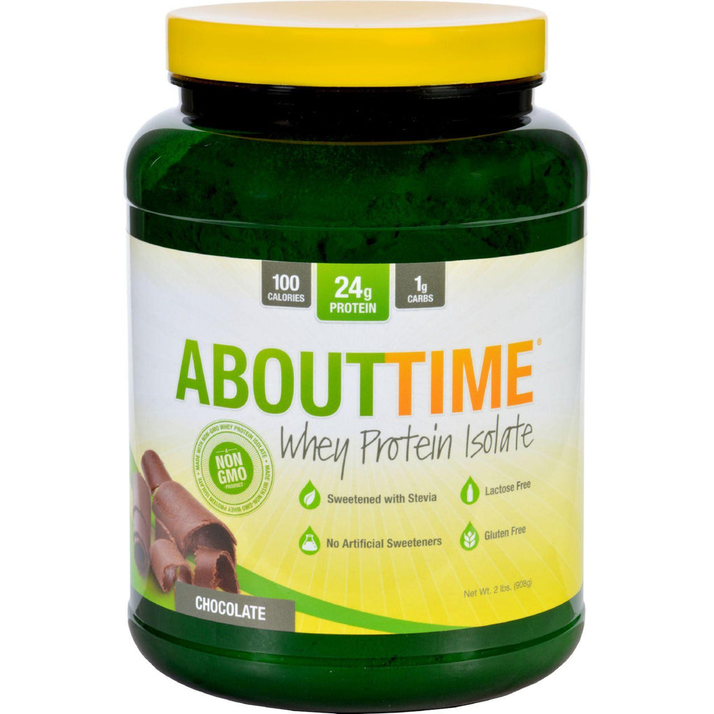About Time Whey Protein Isolate - Chocolate - 2 Lb-About Time-pantryperks