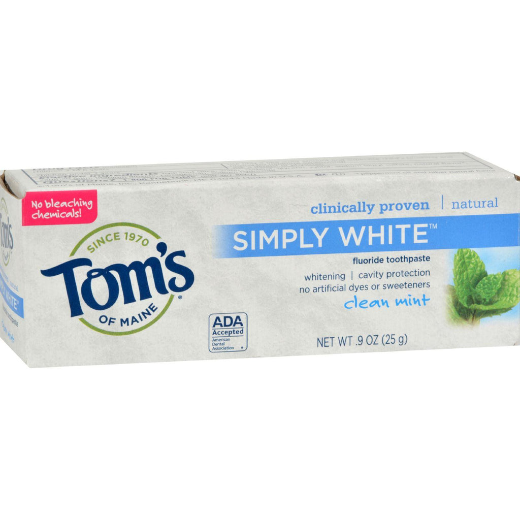 Tom's Of Maine Toothpaste - Clean Mint Simply White Trial Size - .9 Oz - Case Of 12-Tom's Of Maine-pantryperks
