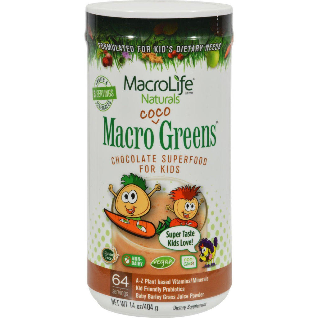 Macrolife Naturals Jr. Macro Coco-greens For Kids Chocolate - 14 Oz-Macrolife Naturals-pantryperks