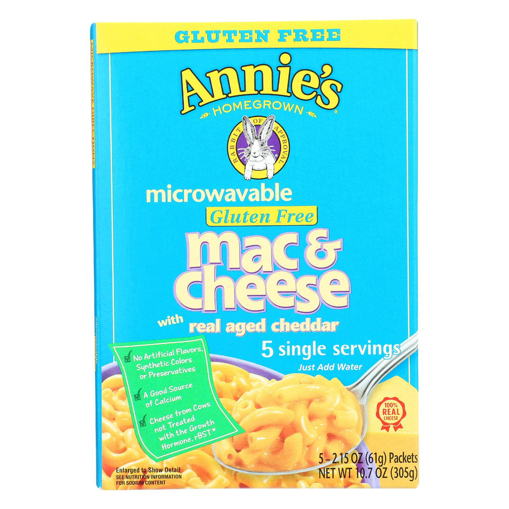 Annie's Homegrown Gluten Free Microwavable Mac And Cheese With Real Aged Cheddar - Case Of 6 - 10.7 Oz.-Annie's Homegrown-pantryperks