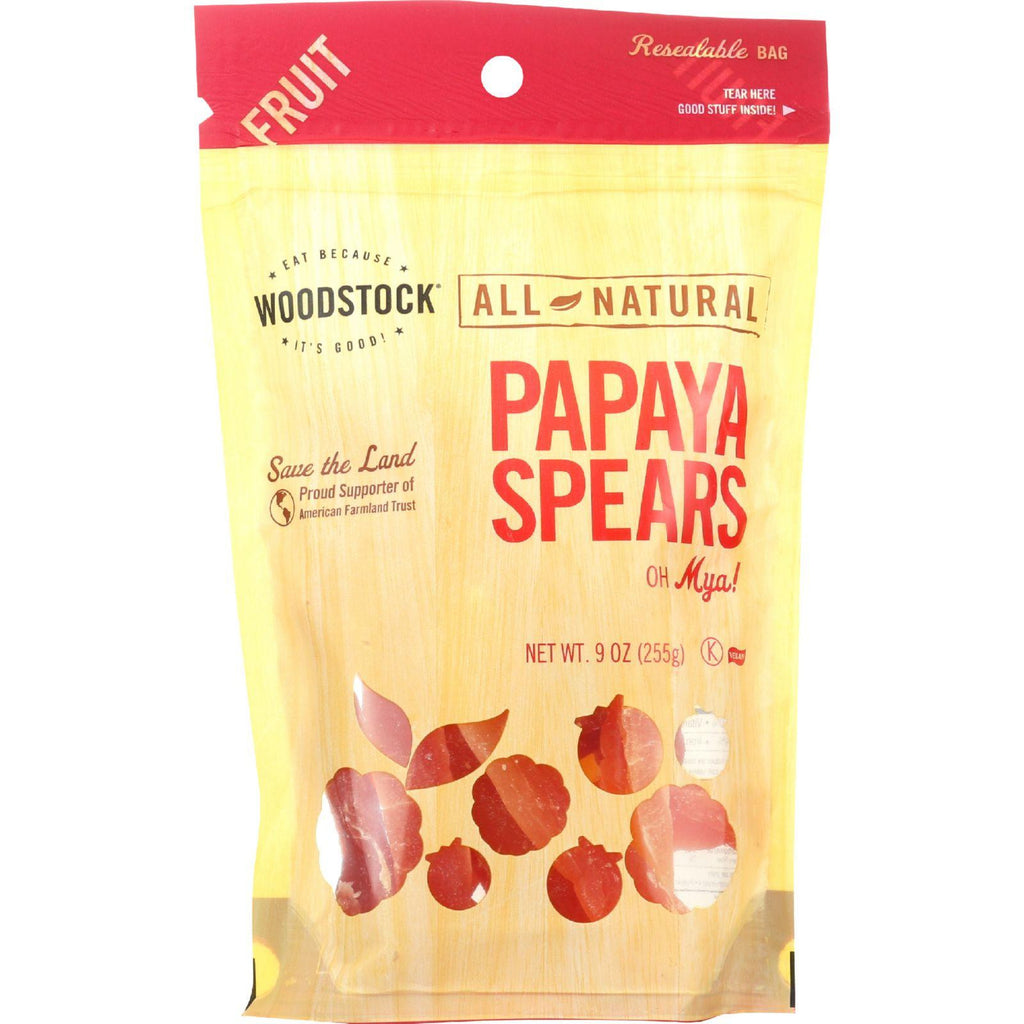 Woodstock Fruit - All Natural - Papaya - Spears - Low Sugar - Unsulphured - 9 Oz - Case Of 8-Woodstock-pantryperks