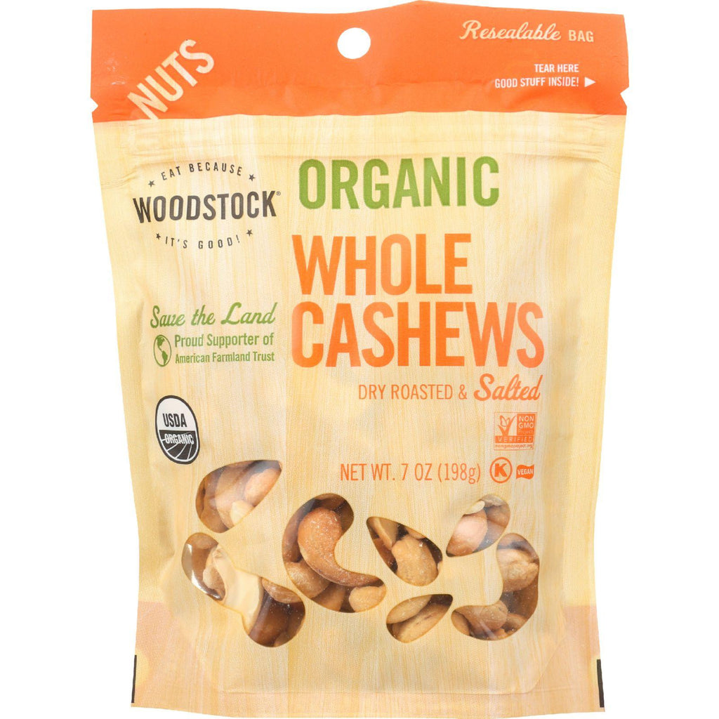 Woodstock Nuts - Organic - Cashews - Whole - Large - Dry Roasted - Salted - 7 Oz - Case Of 8-Woodstock-pantryperks