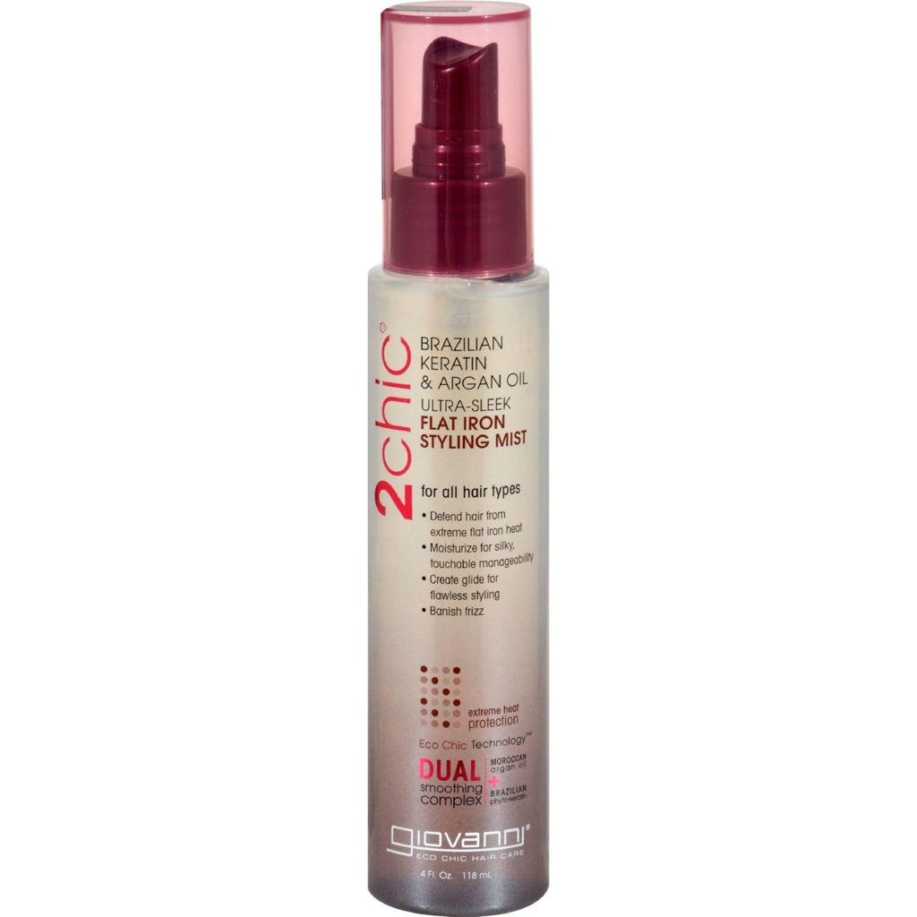Giovanni 2chic Flat Iron Styling Mist With Brazilian Keratin And Argan Oil - 4 Fl Oz-Giovanni Hair Care Products-pantryperks