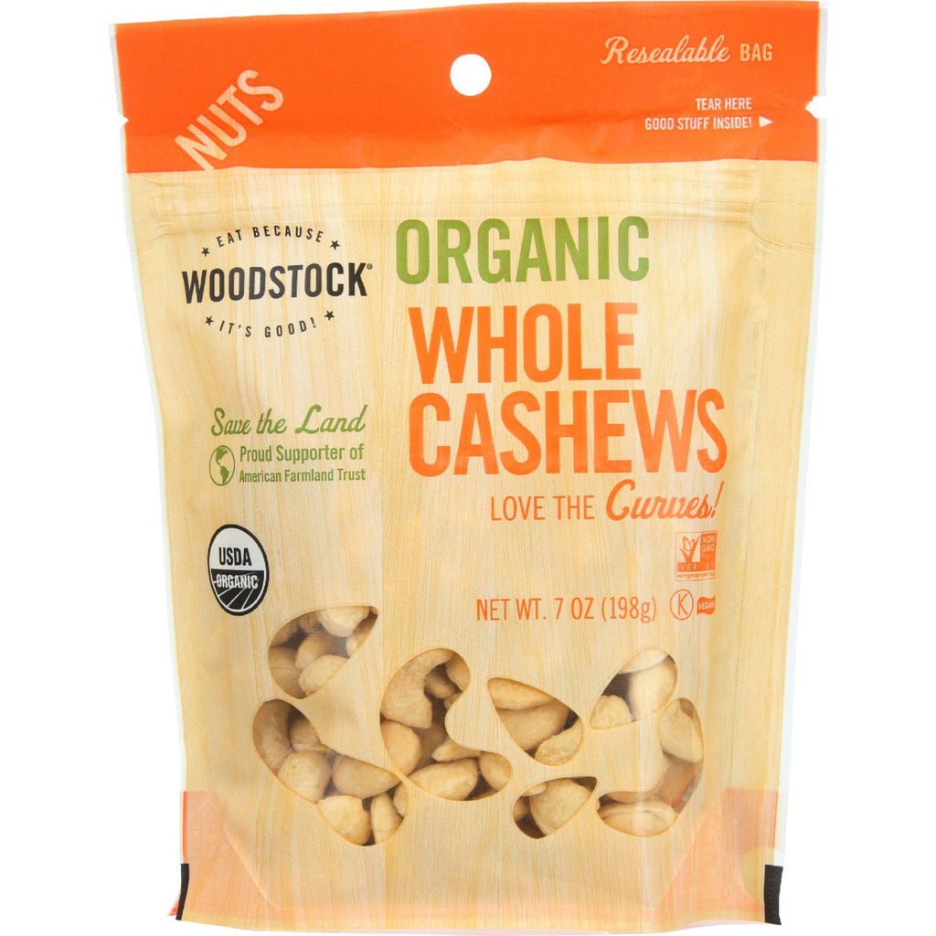 Woodstock Nuts - Organic - Cashews - Whole - Large - Dry Roasted - Unsalted - Raw - 7 Oz - Case Of 8-Woodstock-pantryperks