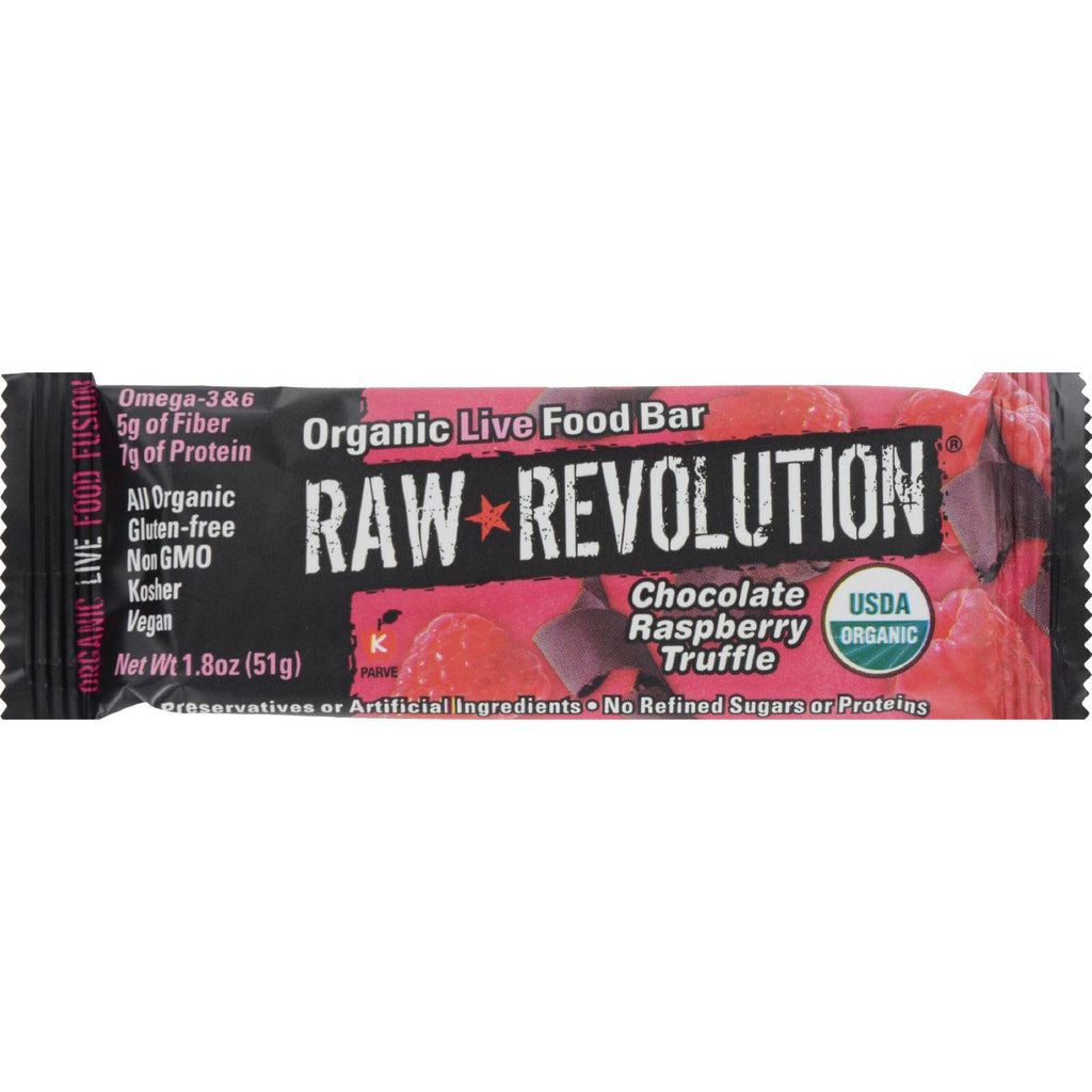 Raw Rev Organic Vegan - Gluten-Free Fruit - Nut - Seed Bars - Chocolate Raspberry Truffle 1.8 ounce - Pack of 12-Raw Revolution-pantryperks