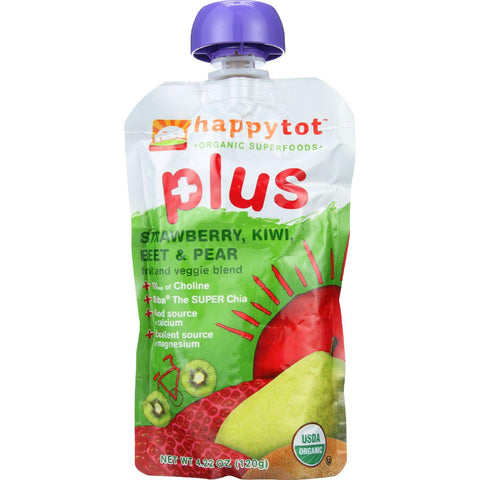 Happy Tot Toddler Food - Organic - Plus - Fruit And Veggie Blend - Strawberry Kiwi Beet And Pear - 4.22 Oz - Case Of 16-Happy Tot-pantryperks