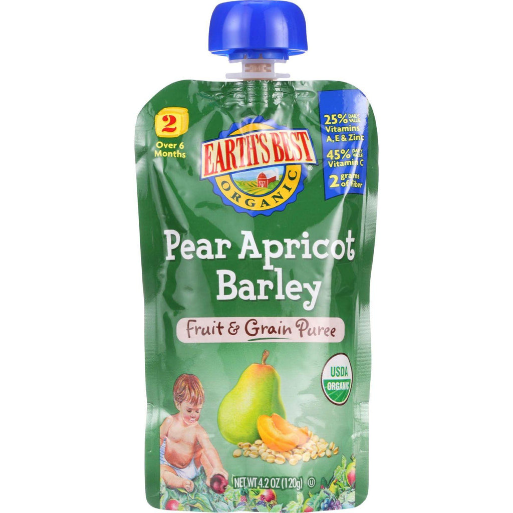 Earths Best Baby Food - Organic - Fruit And Grain Puree - Pouch - Age 6 Months Plus - Stage 2 - Pear Apricot Barley - 4.2 Oz - Case Of 12-Earth's Best-pantryperks