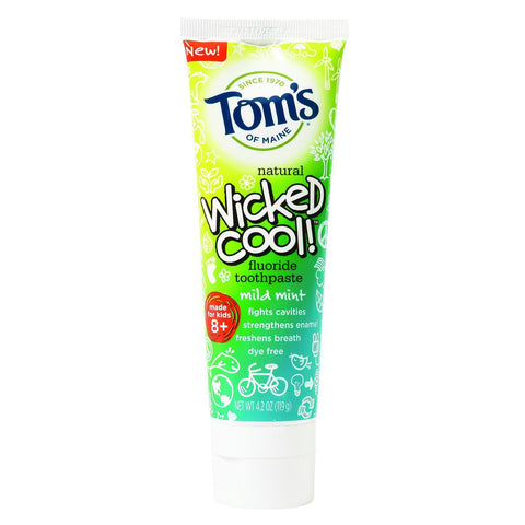 Tom's of Maine Natural Fluoride - Wicked Cool! Children's Toothpaste - Mild Mint - 4.2 Ounce-Tom's Of Maine-pantryperks