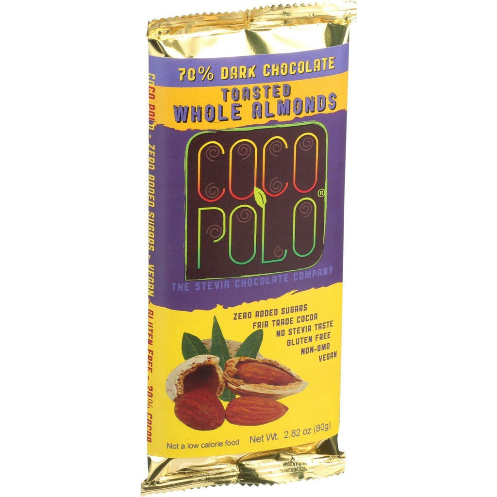 Coco Polo Chocolate Bar - 70 Percent Dark Almond - Case Of 10 - 2.82 Oz Bars-Coco Polo-pantryperks
