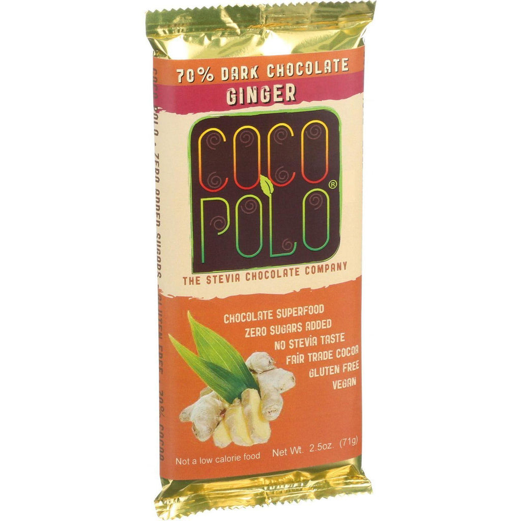Coco Polo Chocolate Bar - 70 Percent Dark Ginger - Case Of 12 - 2.5 Oz Bars-Coco Polo-pantryperks