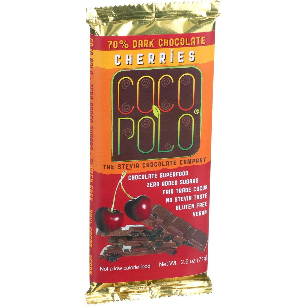 Coco Polo Chocolate Bar - 70 Percent Dark Cherry - Case Of 10 - 2.5 Oz Bars-Coco Polo-pantryperks